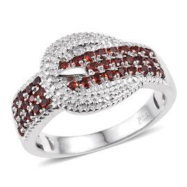 Mozambique Garnet (Rnd) Buckle Ring in ION Plated Platinum Bond 0.750 Ct.