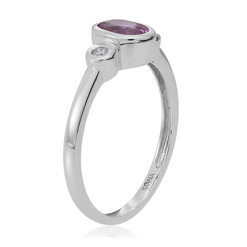 ILIANA 18K W Gold Pink Sapphire (Ovl 0.90 Ct), Diamond Ring 1.000 Ct.