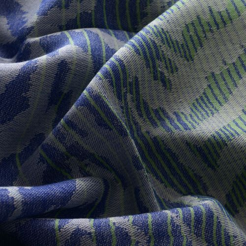 Modal and Cotton Blue, Green and Multi Colour Zebra Print Shawl (Size 190x75 Cm)