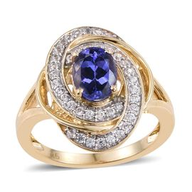 9K Y Gold Tanzanite (Ovl 1.50 Ct), Natural Cambodian Zircon Ring 2.000 Ct.