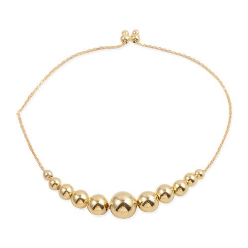 JCK Vegas Collection 14K Gold Overlay Sterling Silver Adjustable Ball Bracelet (Size 6 -9) Silver wt 5.50 Gms.