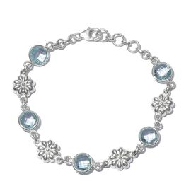 One Time Deal - Sky Blue Topaz (Rnd) Bracelet (Size 7.5) in Sterling Silver 11.700 Ct. Silver Wt 5.88 Gms