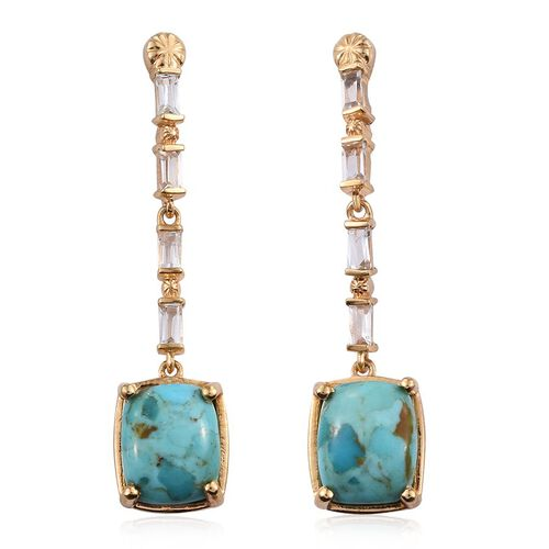 Arizona Matrix Turquoise (Cush), White Topaz Earrings (with Push Back) in 14K Gold Overlay Sterling Silver 8.000 Ct.
