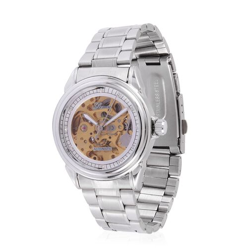 GENOA Automatic Skeleton White Austrian Crystal Studded Golden and White Dial Water Resistant Watch in Silver Tone with Stainless Steel Back and Chain Strap with Gift Box