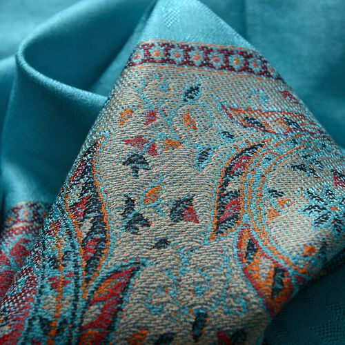 SILK MARK - 100% Superfine Silk Multi Colour Floral and Leaves Pattern Turquoise Colour Jacquard Jamawar Shawl with Fringes (Size 180x70 Cm) (Weight 125-140 Grams)