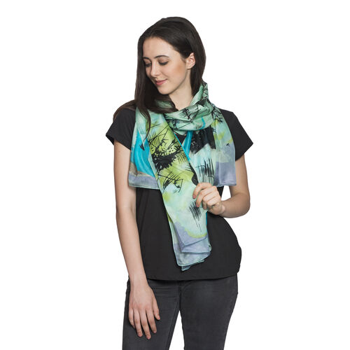 100% Mulberry Silk Blue, Green and Multi Colour Hand Screen Printed Scarf (Size 180X100 Cm)