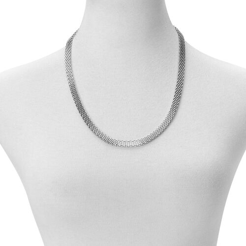 Flat Mesh Chain Necklace (Size 24) and Bracelet (Size 7.5 with 1 inch Extender) in Stainless Steel