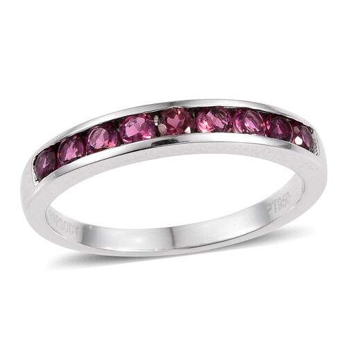 RHAPSODY 950 Platinum 0.50 Carat AAAA Pink Tourmaline Round Half Eternity Band Ring.