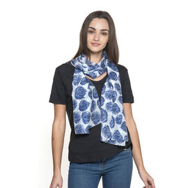 100% Mulberry Silk White and Blue Colour Leaves Pattern Scarf (Size 180x50 Cm)