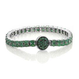 Kagem Zambian Emerald (Ovl) Bracelet (Size 7.5) in Platinum Overlay Sterling Silver 16.500 Ct.Silver Wt 20.01 Gms