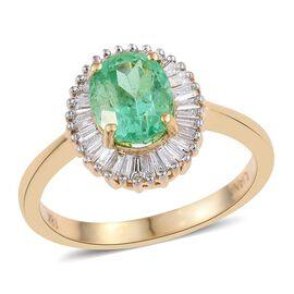 ILIANA 18K Y Gold Boyaca Colombian Emerald (Ovl 1.65 Ct), Diamond Ring 2.150 Ct.