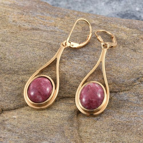 Norwegian Thulite (Ovl) Earrings in 14K Gold Overlay Sterling Silver 8.250 Ct.