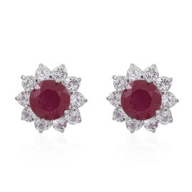 African Ruby (Rnd), White Topaz Stud Earrings (with Push Back) in Rhodium Plated Sterling Silver 5.500 Ct.