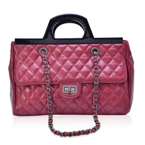 Burgundy Colour Diamond Pattern Tote Bag (Size 33x23x9.5 Cm)