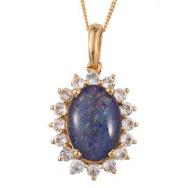 Australian Boulder Opal (Ovl 3.40 Ct), White Topaz Pendant With Chain in 14K Gold Overlay Sterling Silver 4.500 Ct.