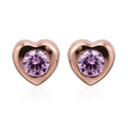 J Francis Crystal from Swarovski - Pink Colour Crystal (Rnd) Heart Stud Earrings (with Push Back) in Rose Gold Overlay Sterling Silver