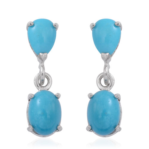 Arizona Sleeping Beauty Turquoise (Ovl) Earrings in Sterling Silver 3.500 Ct.