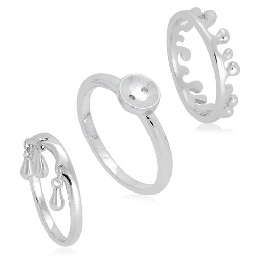 Set of 3 - LucyQ Triple Drip, Button and Ocean Ring in Rhodium Plated Sterling Silver 7.44 Gms.