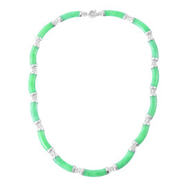 Green Jade Necklace (Size 18) in Rhodium Plated Sterling Silver 90.000 Ct.