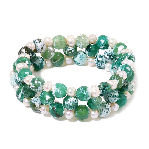Green Agate and Fresh Water White Pearl Stretchable Bracelet (Size 7.5) 185.000 Ct.