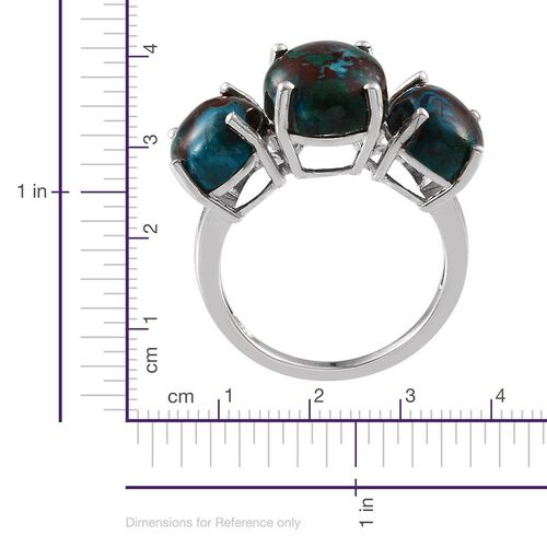 Table Mountain Shadowkite (Ovl 5.75 Ct) 3 Stone Ring in Platinum Overlay Sterling Silver 11.000 Ct.