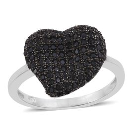 Boi Ploi Black Spinel (Rnd) Heart Cluster Ring in Platinum Overlay Sterling Silver 1.250 Ct.