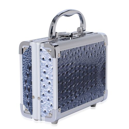 Croc Embossed Blue Colour Jewellery Box With Mirror Inside (Size 18x14x8 Cm)