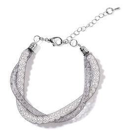 AAA White Austrian Crystal Twisted Bracelet (Size 7.5 with 1.5 inch Extender) in Black Tone