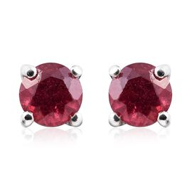 African Ruby 0.75 Ct Silver Stud Earrings  in Platinum Overlay