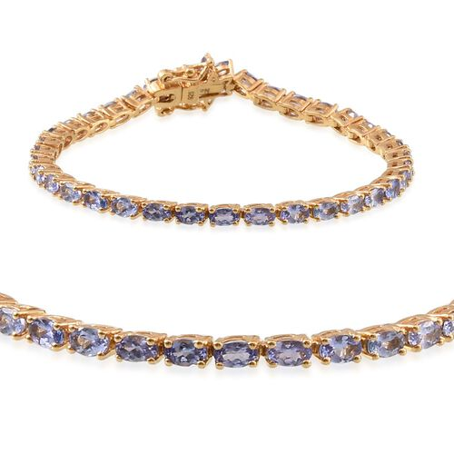 Tanzanite (Ovl), Diamond Tennis Bracelet (Size 7.5) in 14K Gold Overlay Sterling Silver 9.005 Ct.