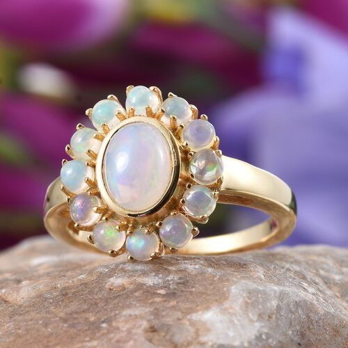 Ethiopian Welo Opal (Ovl 0.75 Ct) Ring in 14K Gold Overlay Sterling Silver 1.500 Ct.