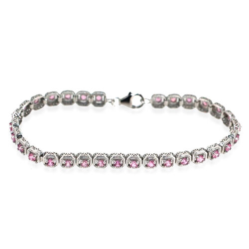 AA Pink Sapphire (Rnd) Bracelet in Rhodium Plated Sterling Silver (Size 7.5) 4.750 Ct.