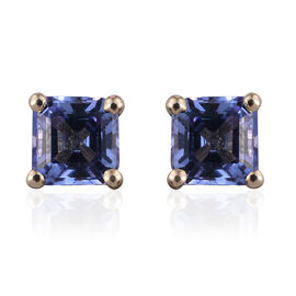 9K Y Gold AA Asscher Cut Tanzanite  Stud Earrings (with Push Back) 1.500 Ct.