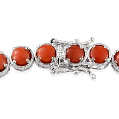 Natural Mediterranean Coral (Rnd) Bracelet in Platinum Overlay Sterling Silver (Size 8) 11.500 Ct.