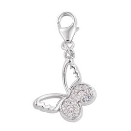 Kimberley Butterfly Collection Natural Cambodian Zircon (Rnd) Charm in Platinum Overlay Sterling Silver