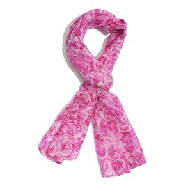 SILK MARK- Made In Kashmir 100% Mulberry Silk Scarf Pink and White Colour Floral Pattern Scarf (Size 170x50 Cm)