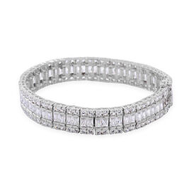 AAA Simulated White Diamond (Oct) Bracelet (Size 7) in Sterling Silver, Silver wt 38 Gram