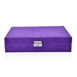 Purple -  Velvet Jewelry Box (Can Store upto 60 rings, 3 Bracelet/Anklet Slots and 4 extra Slots), 6 Necklace Hooks and extra Pocket with Lock and Key (Size 28x19x6.5 Cm)