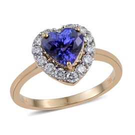 ILIANA 18K Y Gold AAA Tanzanite (Hrt 1.75 Ct), Diamond (SI/G-H) Ring 2.250 Ct.