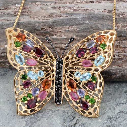 GP Rhodolite Garnet (Ovl), Electric Swiss Blue Topaz, Kanchanaburi Blue Sapphire, African Ruby and Multi Gem Stone Butterfly Pendant With Chain (Size 18) in 14K Gold Overlay Sterling Silver 6.500 Ct.