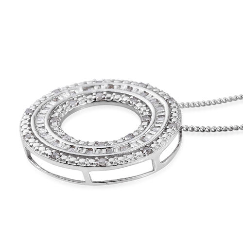 Diamond (Bgt) Circle Pendant with Chain in Platinum Overlay Sterling Silver 0.240 Ct.