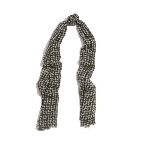 100% Merino Wool Woven Houndstooth Pattern Charcoal and White Colour Scarf (Size 175x70 Cm)