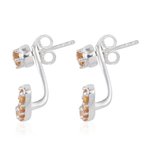 Citrine (Rnd) Jacket Earrings (with Push Back) in Sterling Silver 1.250 Ct.