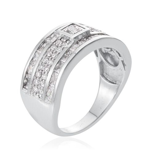 J Francis - Platinum Overlay Sterling Silver (Sqr) Ring Made with SWAROVSKI ZIRCONIA