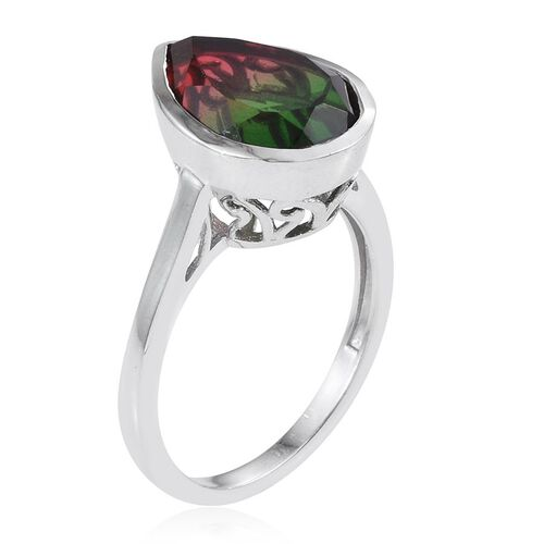 Bi-Color Tourmaline Quartz (Pear) Solitaire Ring in Platinum Overlay Sterling Silver 6.000 Ct.