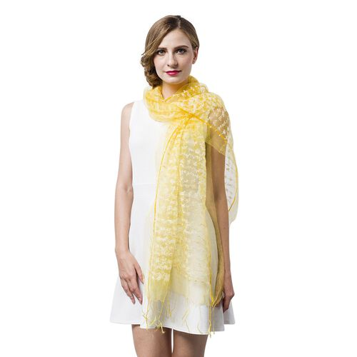 Yellow and White Colour Small Tassel Flowers Embellished Scarf (Size 160X65 Cm)