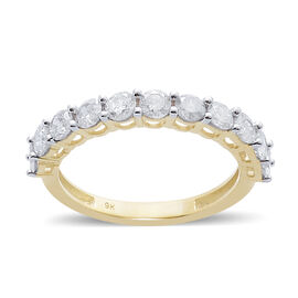 9K Y Gold SGL Certified Diamond (Rnd) (I3/G-H) Half Eternity Ring 1.000 Ct.
