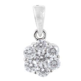 RHAPSODY 950 Platinum IGI Certified Diamond (Rnd) (E-F/VS) 7 Stone Floral Pendant 0.500 Ct.