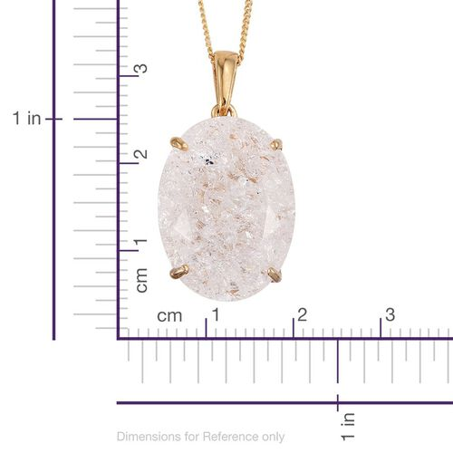 Diamond Crackled Quartz (Ovl) Pendant With Chain in 14K Gold Overlay Sterling Silver 16.500 Ct.
