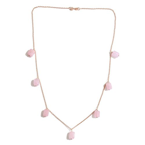 Venetian Collection - Rose Quartz Necklace (Size 20) and Hook Earrings Suite in Rose Gold Overlay Sterling Silver 49.600 Ct.